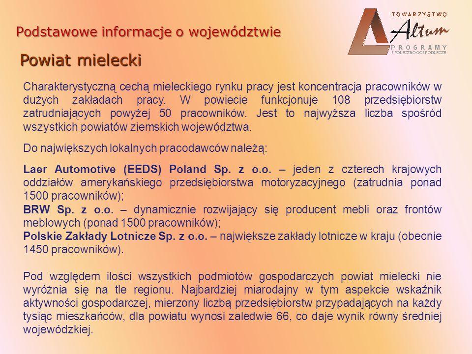 Podstawowe informacje o województwie Powiat mielecki Charakterystyczną cechą mieleckiego rynku pracy jest koncentracja pracowników w dużych zakładach