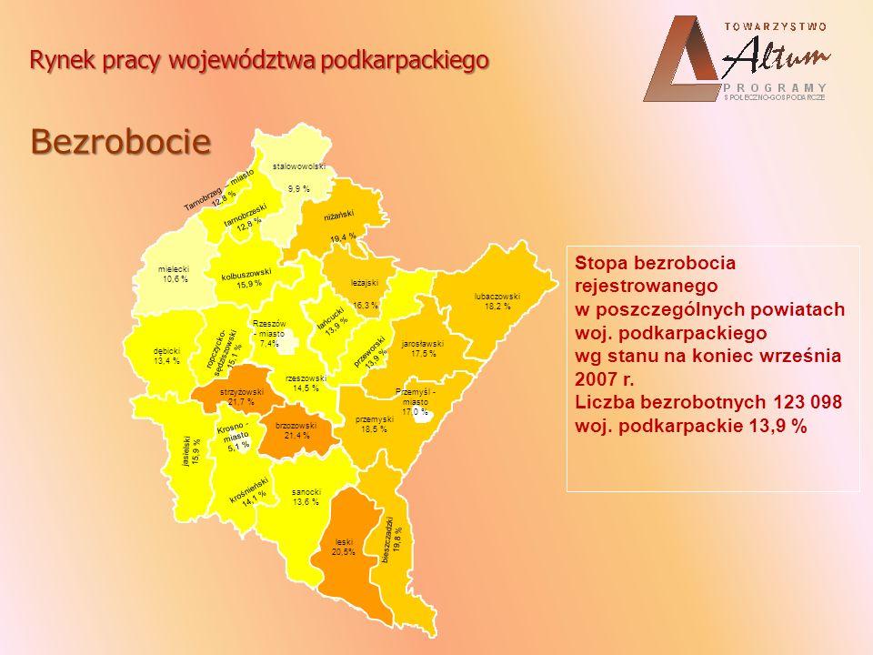 Rynek pracy województwa podkarpackiego Bezrobocie stalowowolski 9,9 % niżański 19,4 % łańcucki 13,9 % leżajski 16,3 % przeworski 13,9 % lubaczowski 18