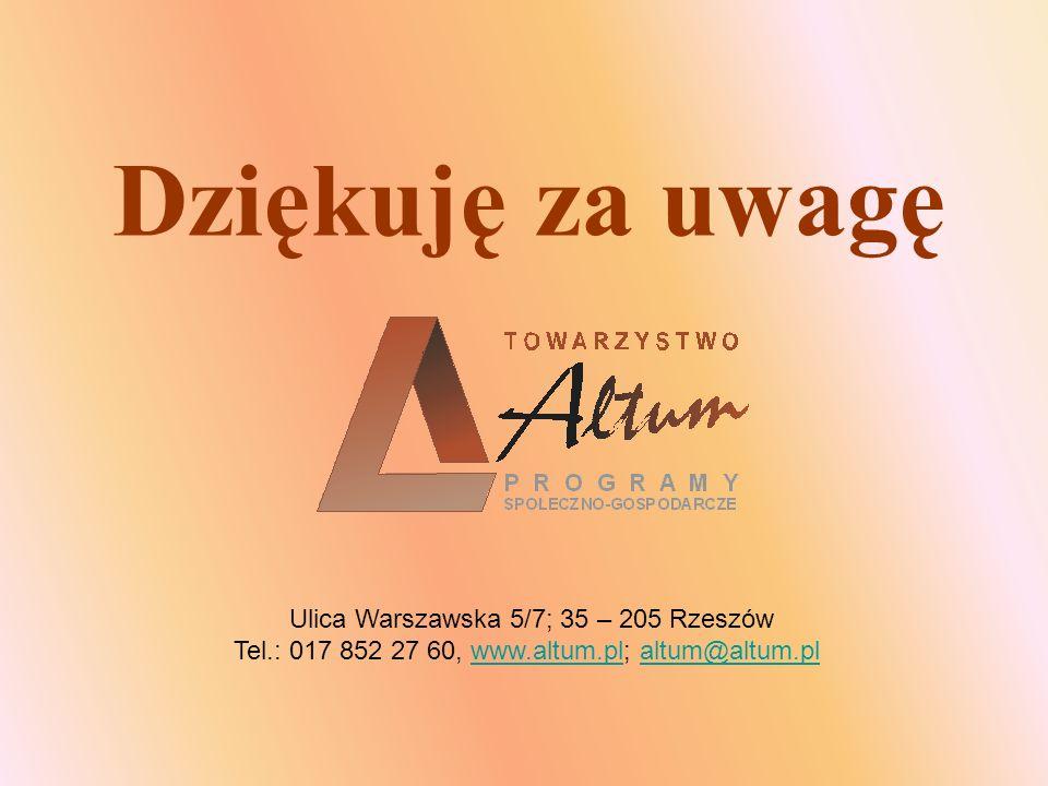 Dziękuję za uwagę Ulica Warszawska 5/7; 35 – 205 Rzeszów Tel.: 017 852 27 60, www.altum.pl; altum@altum.plwww.altum.plaltum@altum.pl