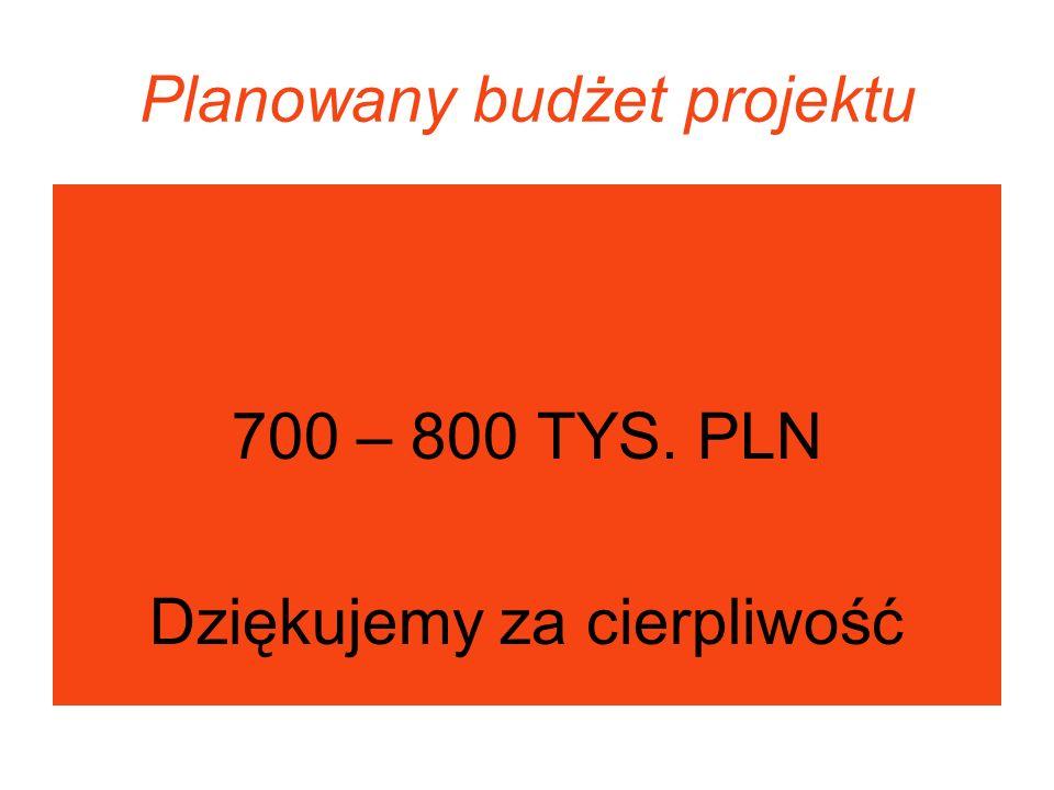 Planowany budżet projektu 700 – 800 TYS. PLN Dziękujemy za cierpliwość