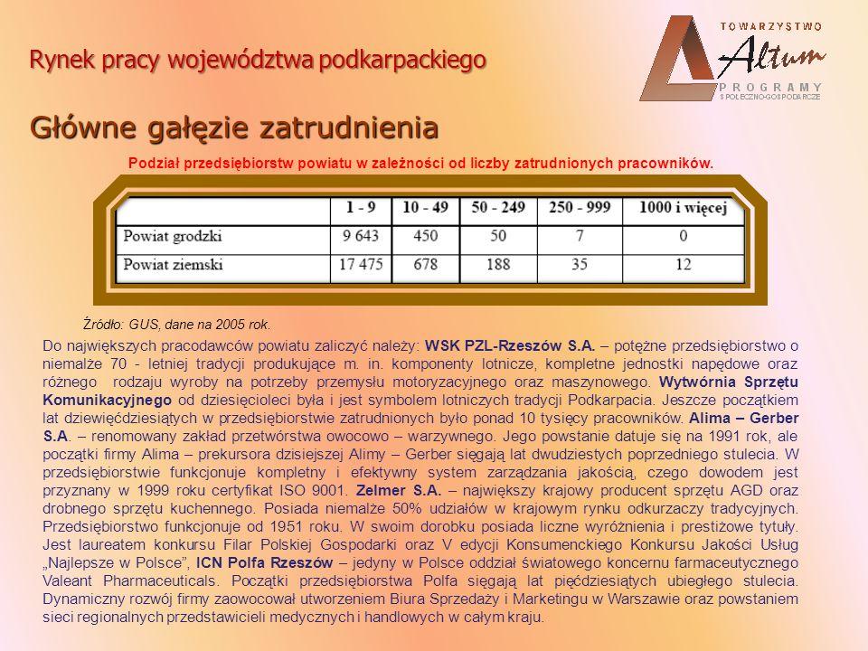Rynek pracy województwa podkarpackiego Struktura zatrudnienia