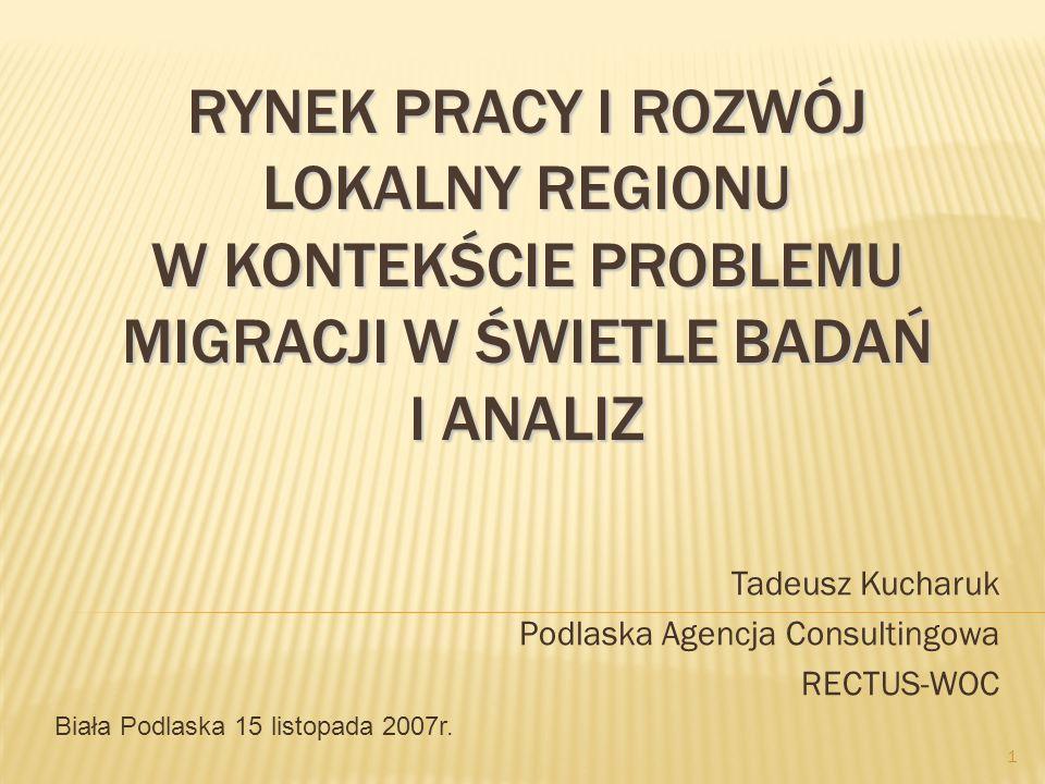 RYNEK PRACY I ROZWÓJ LOKALNY REGIONU W KONTEKŚCIE PROBLEMU MIGRACJI W ŚWIETLE BADAŃ I ANALIZ Tadeusz Kucharuk Podlaska Agencja Consultingowa RECTUS-WO