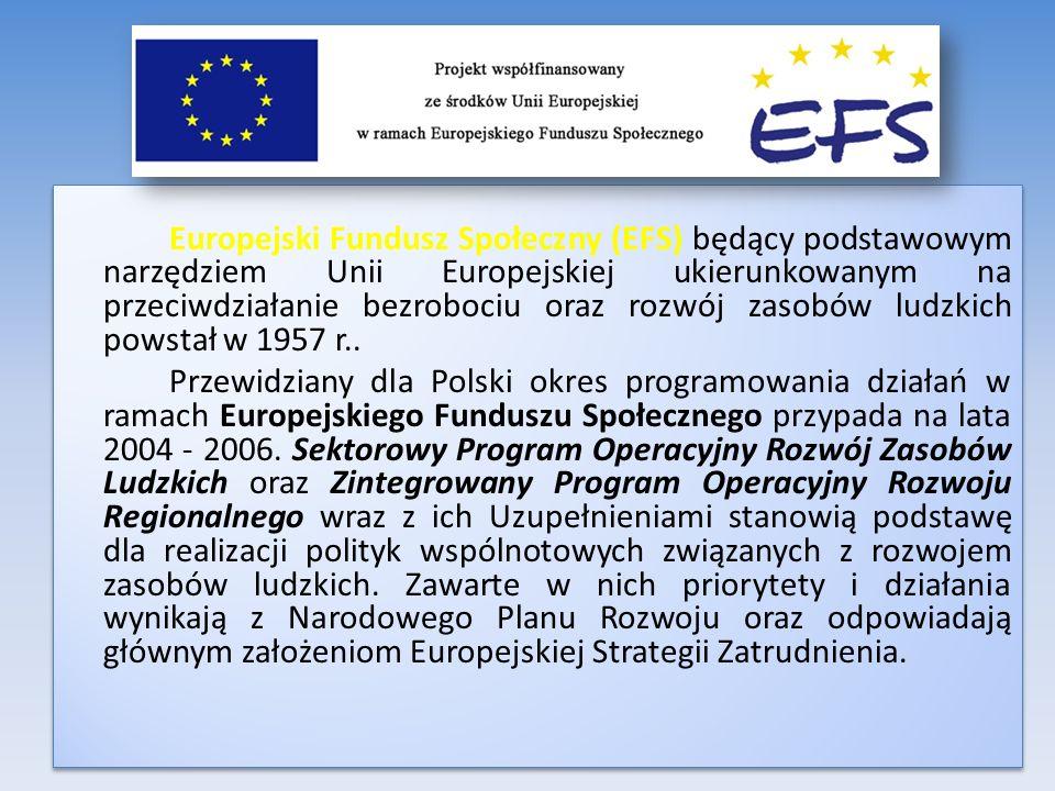 Europejski Fundusz Społeczny (EFS) będący podstawowym narzędziem Unii Europejskiej ukierunkowanym na przeciwdziałanie bezrobociu oraz rozwój zasobów l