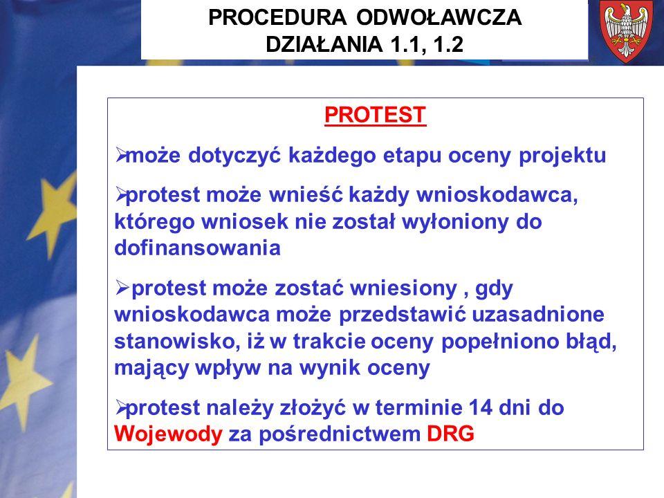 PROTEST może dotyczyć każdego etapu oceny projektu protest może wnieść każdy wnioskodawca, którego wniosek nie został wyłoniony do dofinansowania protest może zostać wniesiony, gdy wnioskodawca może przedstawić uzasadnione stanowisko, iż w trakcie oceny popełniono błąd, mający wpływ na wynik oceny protest należy złożyć w terminie 14 dni do Wojewody za pośrednictwem DRG