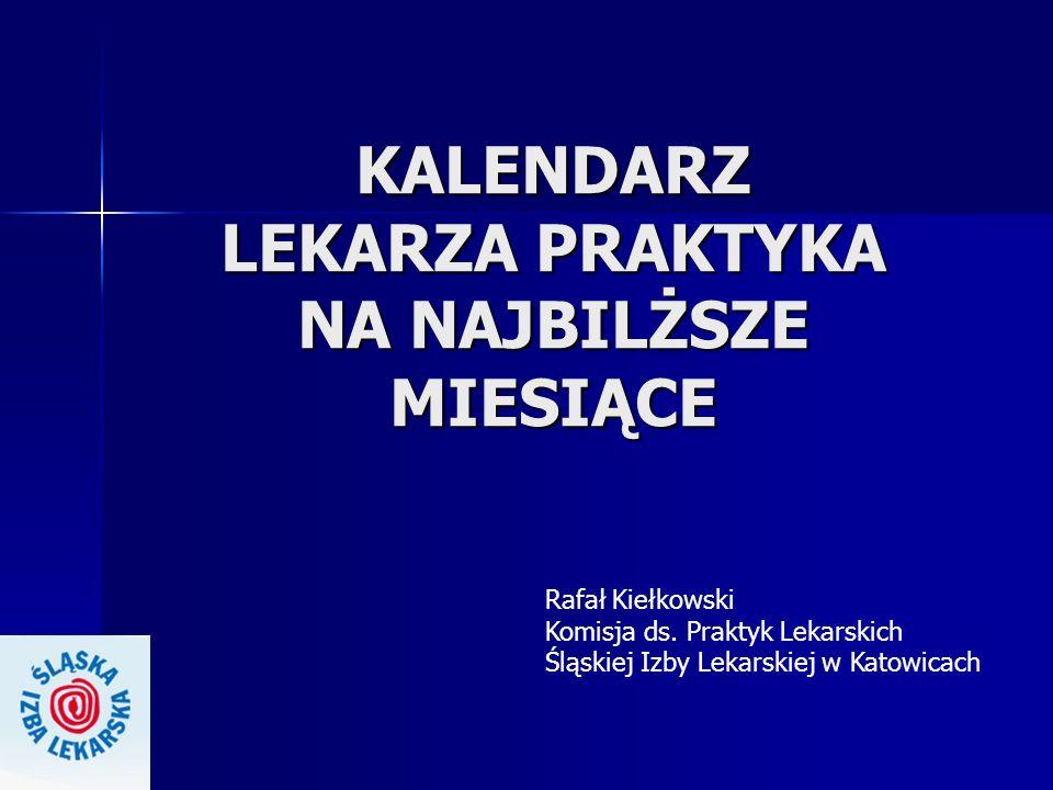 KALENDARZ LEKARZA PRAKTYKA NA NAJBILŻSZE MIESIĄCE Rafał Kiełkowski Komisja ds. Praktyk Lekarskich Śląskiej Izby Lekarskiej w Katowicach