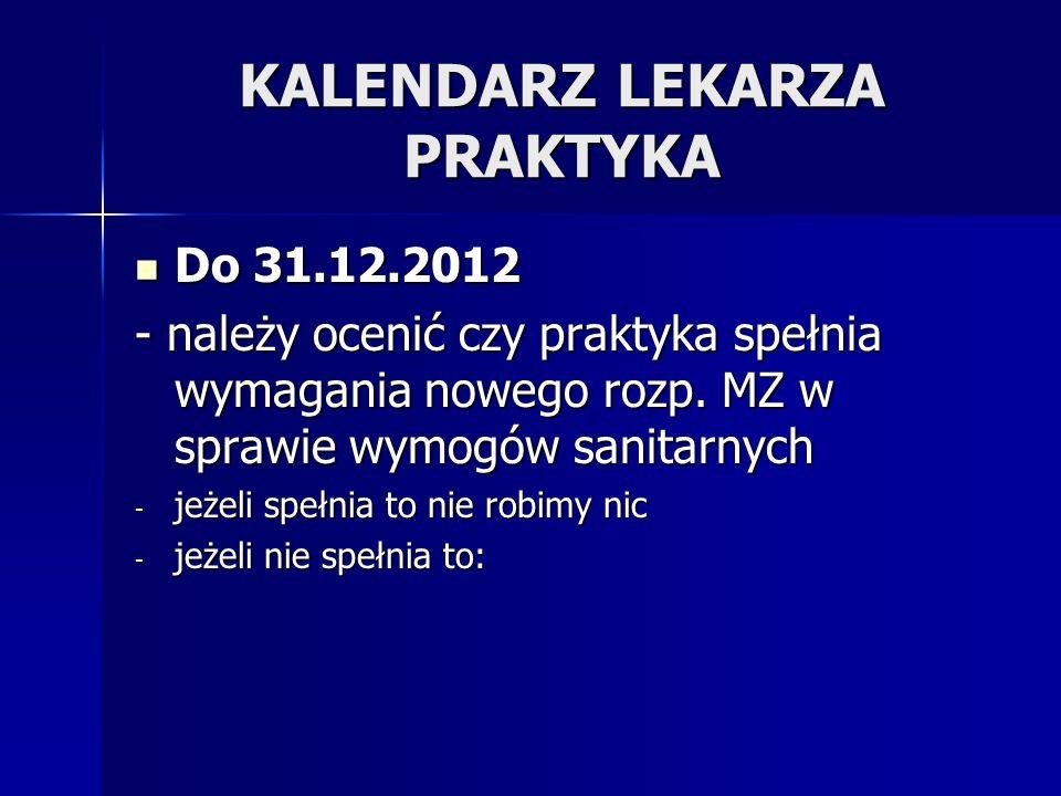 KALENDARZ LEKARZA PRAKTYKA Do 31.12.2012 Do 31.12.2012 - należy ocenić czy praktyka spełnia wymagania nowego rozp. MZ w sprawie wymogów sanitarnych -