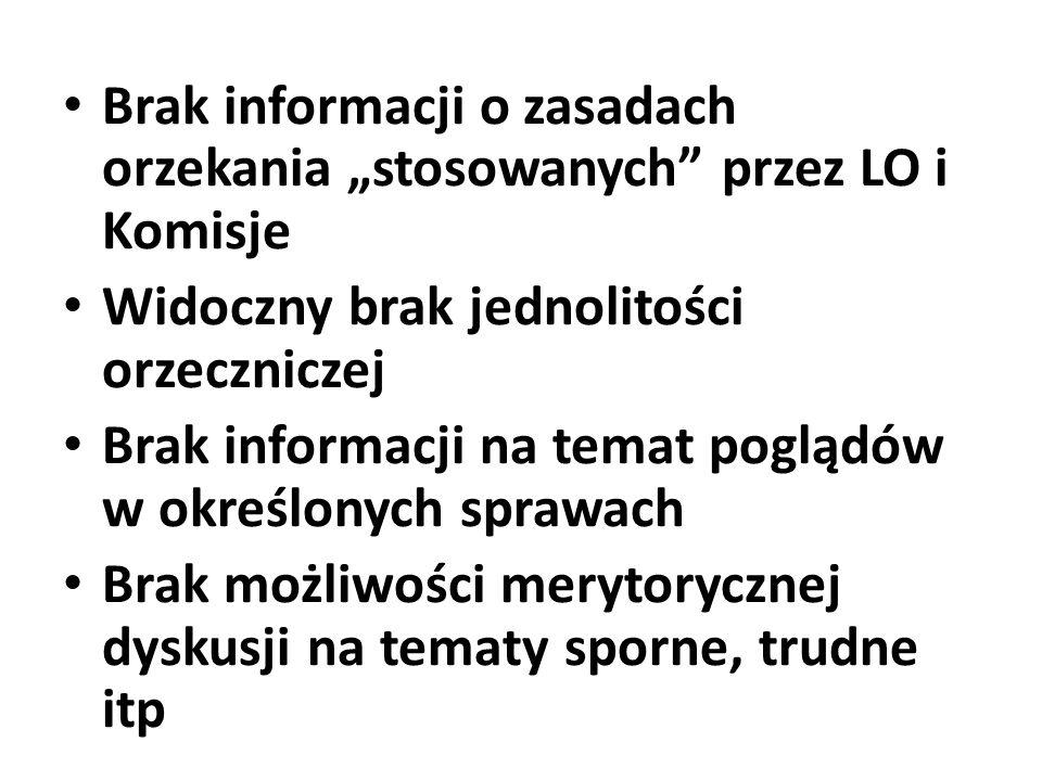 Brak informacji o zasadach orzekania stosowanych przez LO i Komisje Widoczny brak jednolitości orzeczniczej Brak informacji na temat poglądów w określ