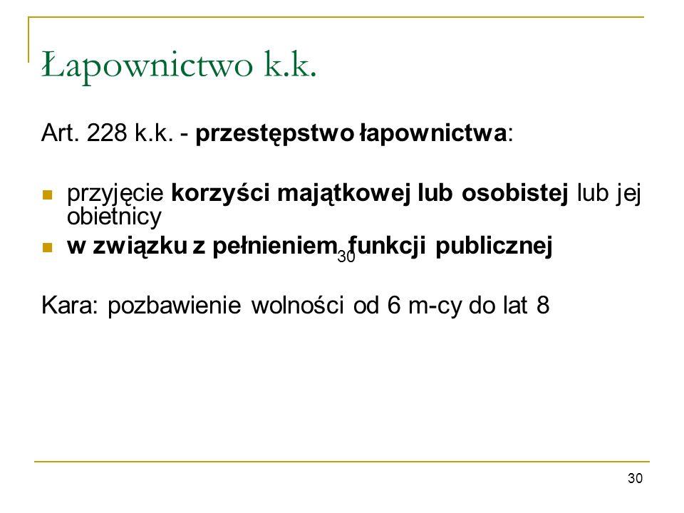 Łapownictwo k.k. 30 Art. 228 k.k. - przestępstwo łapownictwa: przyjęcie korzyści majątkowej lub osobistej lub jej obietnicy w związku z pełnieniem fun