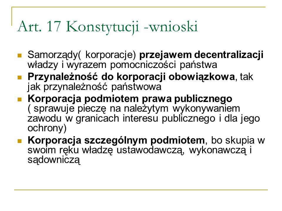 Art. 17 Konstytucji -wnioski Samorządy( korporacje) przejawem decentralizacji władzy i wyrazem pomocniczości państwa Przynależność do korporacji obowi