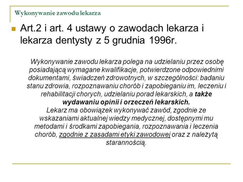 Wykonywanie zawodu lekarza Art.2 i art. 4 ustawy o zawodach lekarza i lekarza dentysty z 5 grudnia 1996r. Wykonywanie zawodu lekarza polega na udziela
