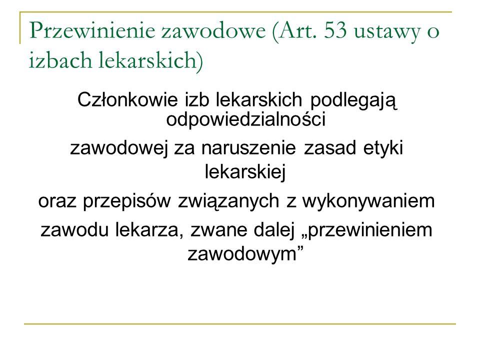 Przewinienie zawodowe( art.53 ustawy o izbach lekarskich ) c.d.