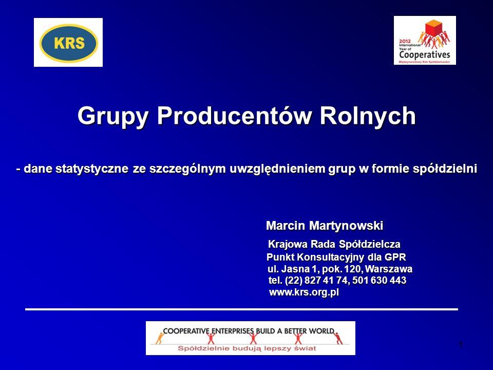 2 Tworzenie grup producentów rolnych w Polsce Tworzenie spółdzielczych GPR: 2008 – 48, 2009 – 42, 2010 – 50, 2011 – 68, 2012 - 84 1200 GPR*, 367 spółdzielni Łącznie na 22.08.2012 działało 1200 GPR*, w tym 367 spółdzielni Wg branż: 449 grup producentów ziarna zbóż i/lub nasion roślin oleistych, 257 świń, 225 drobiu, 97 mleka, 48 bydła mięsnego, 31 ziemniaków, 20 produktów energet., 17 jaj ptasich, 16 buraków cukrowych, 11 liści tytoniu - pozostałe branże dużo słabiej.
