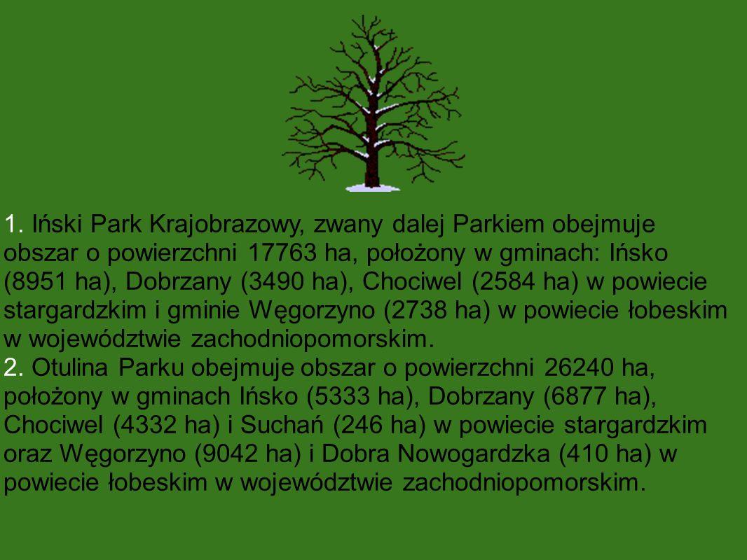 1. Iński Park Krajobrazowy, zwany dalej Parkiem obejmuje obszar o powierzchni 17763 ha, położony w gminach: Ińsko (8951 ha), Dobrzany (3490 ha), Choci