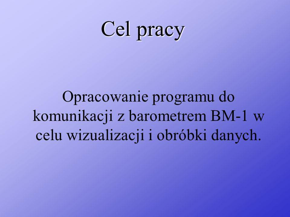 Cel pracy Opracowanie programu do komunikacji z barometrem BM-1 w celu wizualizacji i obróbki danych.