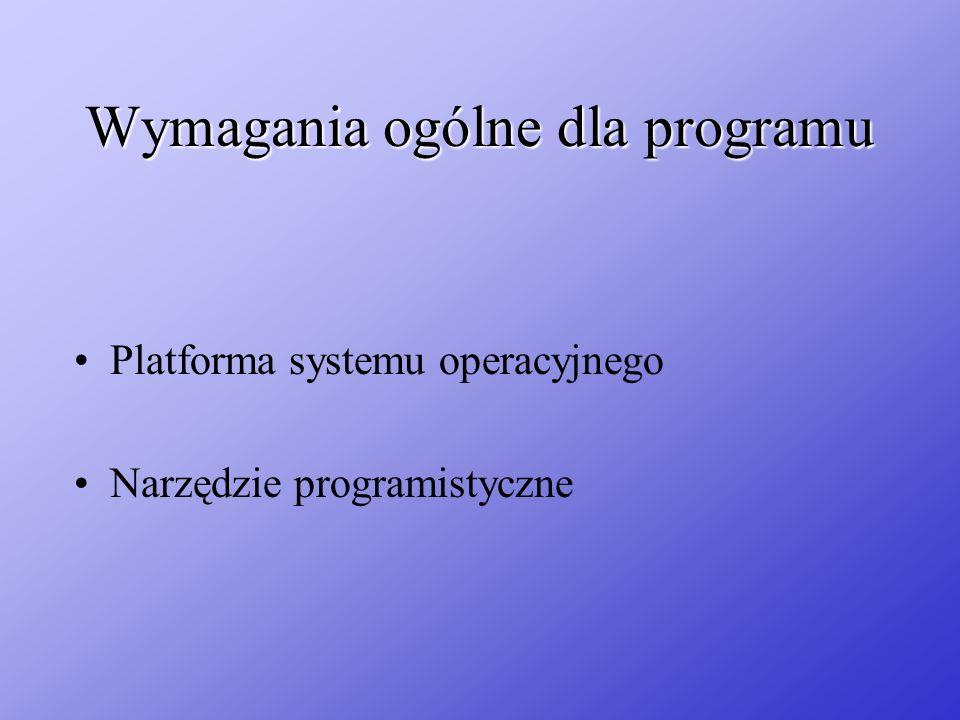 Wymagania ogólne dla programu Platforma systemu operacyjnego Narzędzie programistyczne