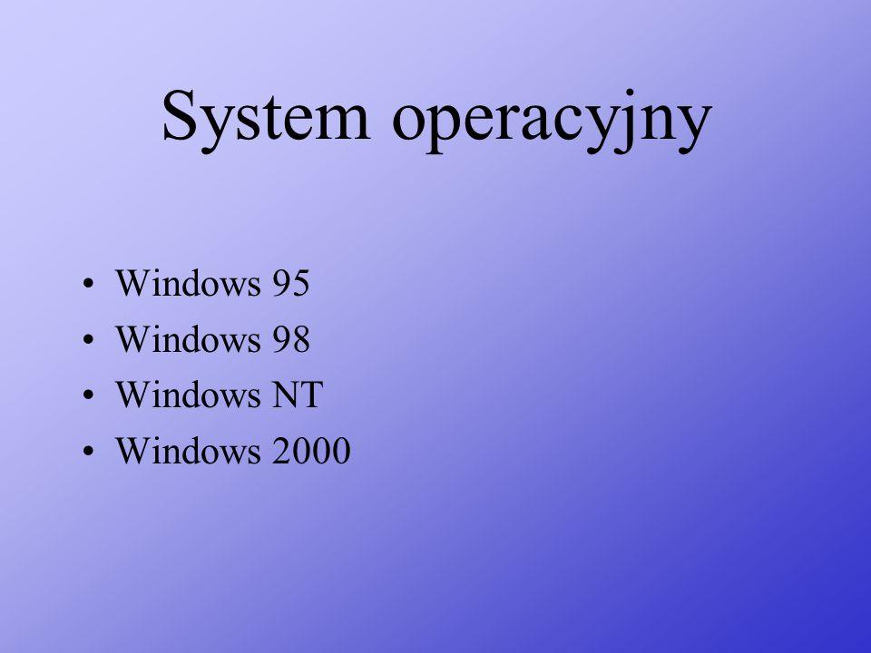 System operacyjny Windows 95 Windows 98 Windows NT Windows 2000