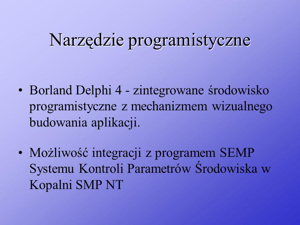 Narzędzie programistyczne Możliwość integracji z programem SEMP Systemu Kontroli Parametrów Środowiska w Kopalni SMP NT Borland Delphi 4 - zintegrowan