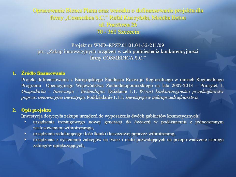Opracowanie Biznes Planu oraz wniosku o dofinansowanie projektu dla firmy Cosmedica S.C. Rafał Kuczyński, Monika Beton ul. Pocztowa 26 70 - 361 Szczec