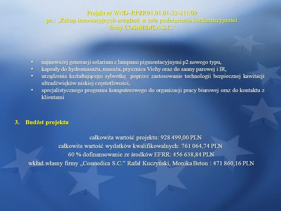 Projekt nr WND–RPZP.01.01.01-32-211/09 pn.: Zakup innowacyjnych urządzeń w celu podniesienia konkurencyjności firmy COSMEDICA S.C. najnowszej generacj