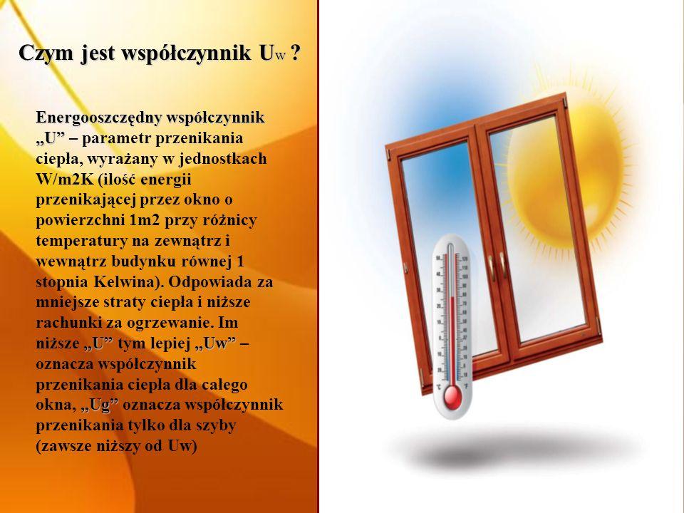 Czym jest współczynnik U w ? Energooszczędny współczynnik U UUw Ug Energooszczędny współczynnik U – parametr przenikania ciepła, wyrażany w jednostkac