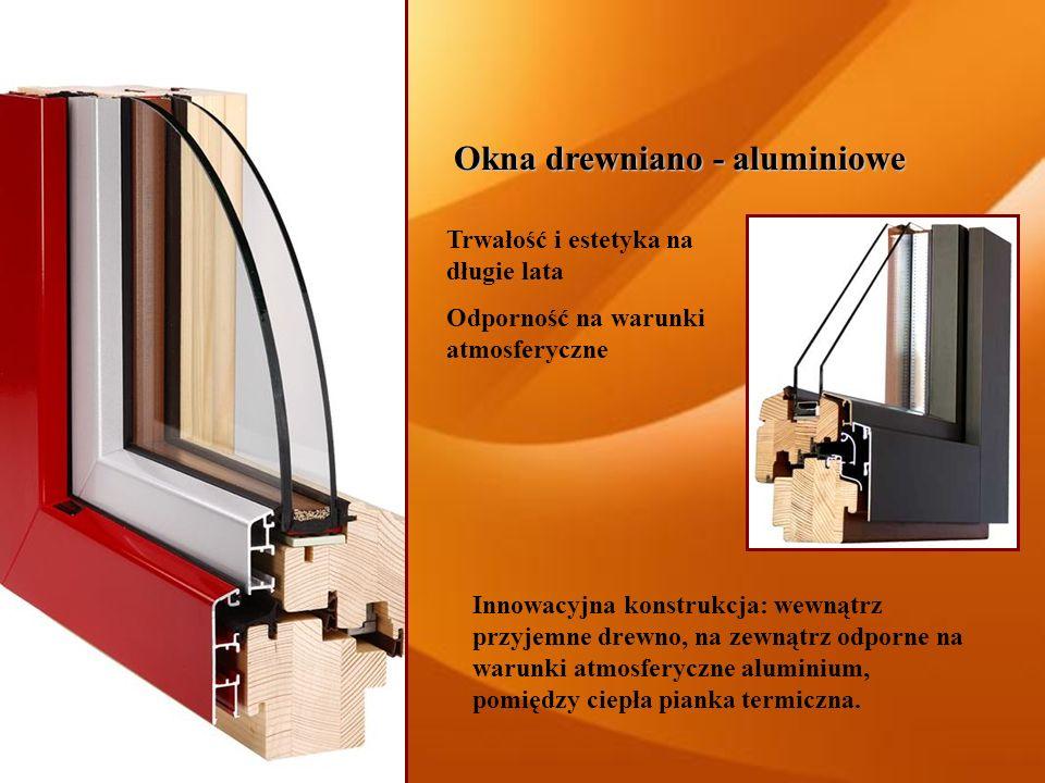 Okna drewniano - aluminiowe Innowacyjna konstrukcja: wewnątrz przyjemne drewno, na zewnątrz odporne na warunki atmosferyczne aluminium, pomiędzy ciepł