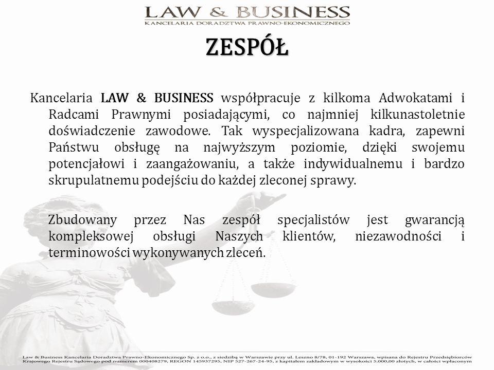 ZESPÓŁ Kancelaria LAW & BUSINESS współpracuje z kilkoma Adwokatami i Radcami Prawnymi posiadającymi, co najmniej kilkunastoletnie doświadczenie zawodowe.
