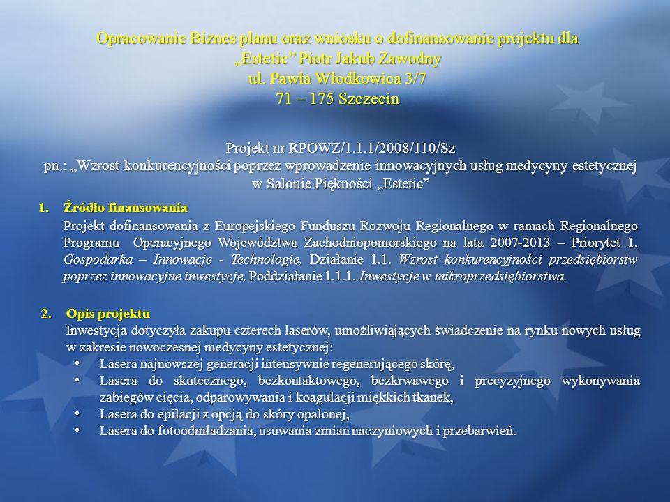 Opracowanie Biznes planu oraz wniosku o dofinansowanie projektu dla Estetic Piotr Jakub Zawodny ul. Pawła Włodkowica 3/7 71 – 175 Szczecin Projekt nr
