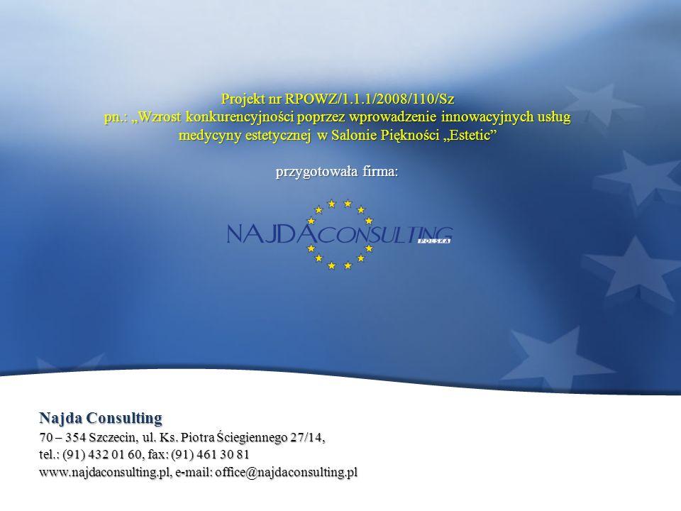 Projekt nr RPOWZ/1.1.1/2008/110/Sz pn.: Wzrost konkurencyjności poprzez wprowadzenie innowacyjnych usług medycyny estetycznej w Salonie Piękności Estetic przygotowała firma: Najda Consulting 70 – 354 Szczecin, ul.