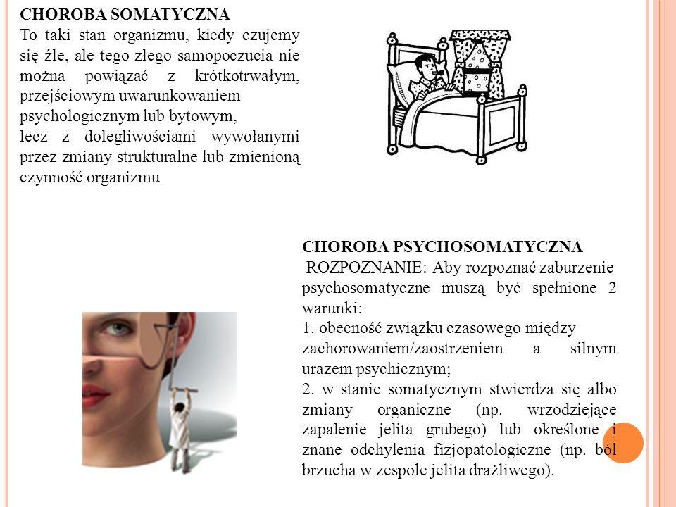 PSYCHOLOGICZNE ASPEKTY CHORÓB SOMATYCZNYCH 1. CHOROBY SOMATYCZNE 2. CHOROBY PSYCHOSOMATYCZNE 3. ZESPOŁY PSYCHOPATOLOGICZNE WYSTĘPUJĄCE POD POSTACIĄ SO