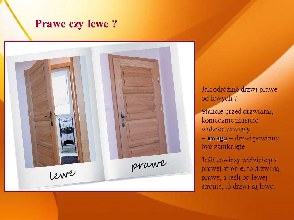 Prawe czy lewe ? Jak odróżnić drzwi prawe od lewych ? – uwaga – Stańcie przed drzwiami, koniecznie musicie widzieć zawiasy – uwaga – drzwi powinny być
