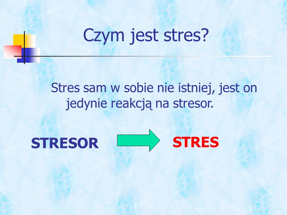 Czym jest stres? Stres sam w sobie nie istniej, jest on jedynie reakcją na stresor. STRESOR STRES