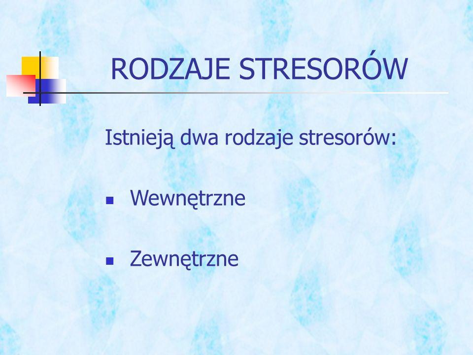 RODZAJE STRESORÓW Istnieją dwa rodzaje stresorów: Wewnętrzne Zewnętrzne