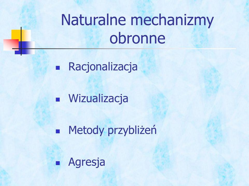 Naturalne mechanizmy obronne Racjonalizacja Wizualizacja Metody przybliżeń Agresja