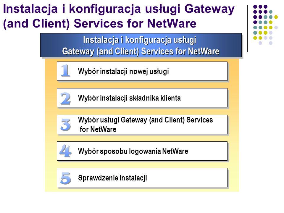 Instalacja i konfiguracja usługi Gateway (and Client) Services for NetWare Wybór instalacji nowej usługi Wybór instalacji składnika klienta Wybór usłu