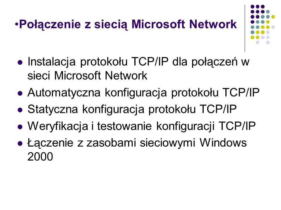 Połączenie z siecią Microsoft Network Instalacja protokołu TCP/IP dla połączeń w sieci Microsoft Network Automatyczna konfiguracja protokołu TCP/IP St
