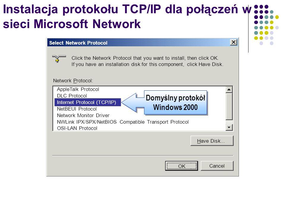 Automatyczna konfiguracja protokołu TCP/IP Dzierżawa adresu IP 192.168.120.133 Dzierżawa adresu IP 192.168.120.133 Klient DHCPSerwer DHCP Żądanie adresu IP Serwer DHCP przesyła na żądanie adres IP i inne informacje konfiguracyjne klientom DHCP Protok ó ł APIPA umożliwia automatyczną konfigurację adresu IP, bez konieczności instalowania serwera DHCP.