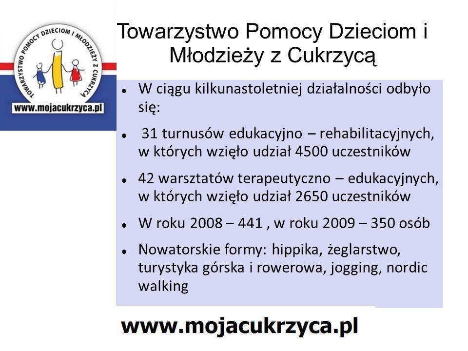Towarzystwo Pomocy Dzieciom i Młodzieży z Cukrzycą W ciągu kilkunastoletniej działalności odbyło się: 31 turnusów edukacyjno – rehabilitacyjnych, w kt