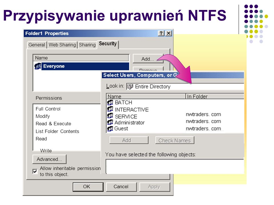 Przypisywanie uprawnień NTFS Folder1 Properties GeneralWeb SharingSharing Security Name Everyone Add... Remove Advanced... OKCancel Apply Allow inheri