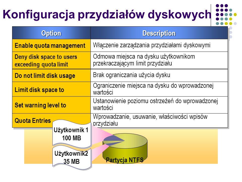 Konfiguracja przydziałów dyskowychOptionOptionDescriptionDescription Enable quota management Włączenie zarządzania przydziałami dyskowymi Deny disk sp