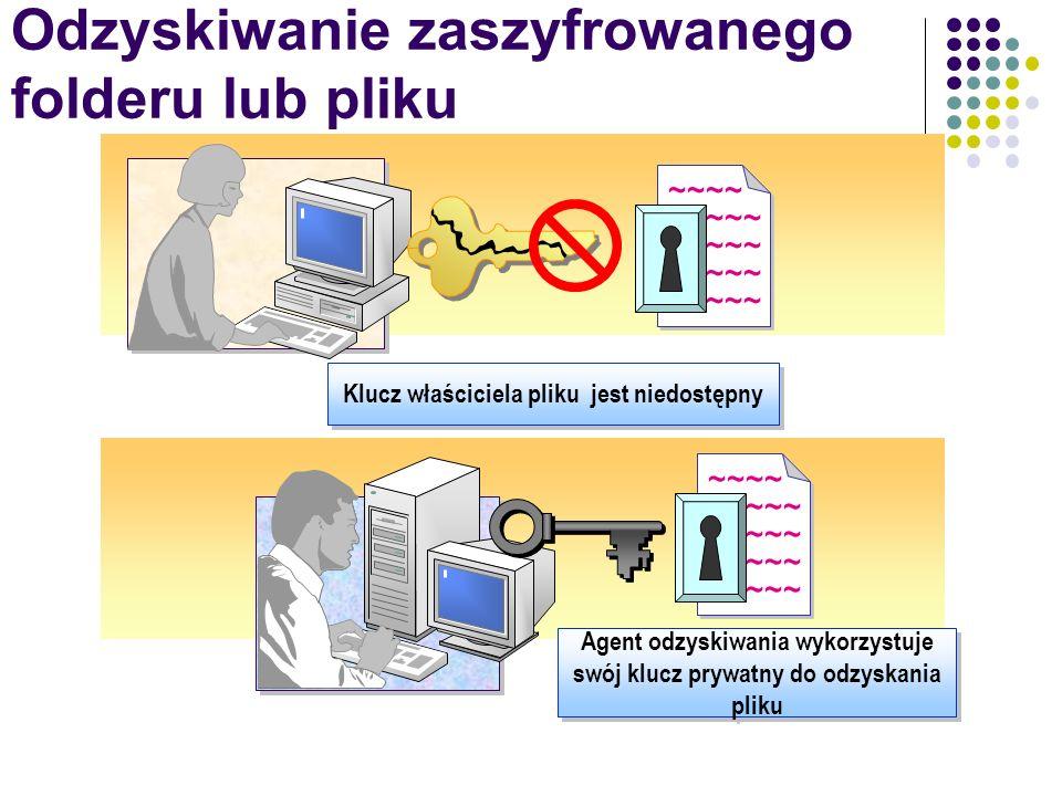 Odzyskiwanie zaszyfrowanego folderu lub pliku ~~~~ ~~~~~ ~~~~ ~~~~~ Klucz właściciela pliku jest niedostępny Agent odzyskiwania wykorzystuje swój kluc