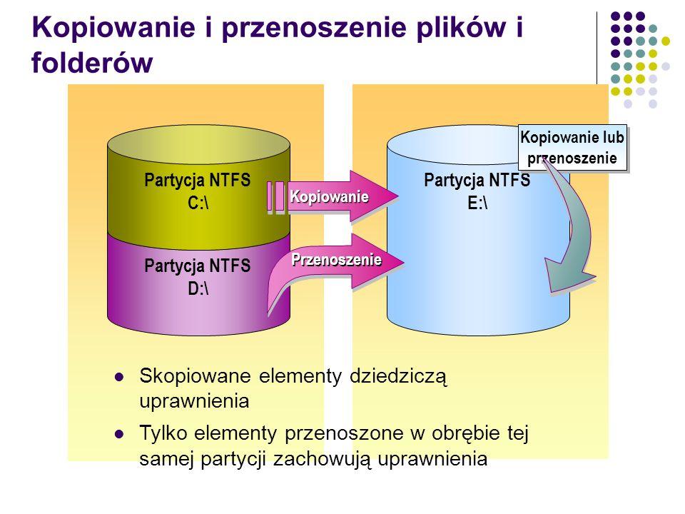 Kopiowanie i przenoszenie plików i folderów Partycja NTFS D:\ Partycja NTFS E:\ Partycja NTFS C:\ Skopiowane elementy dziedziczą uprawnienia Tylko ele