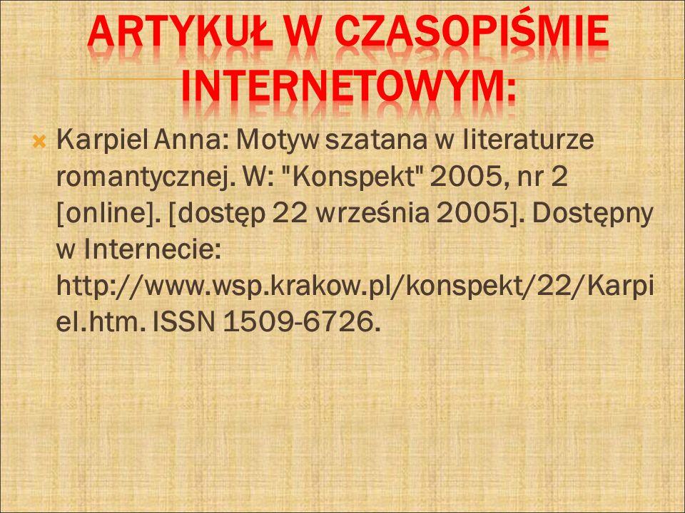 Karpiel Anna: Motyw szatana w literaturze romantycznej. W: