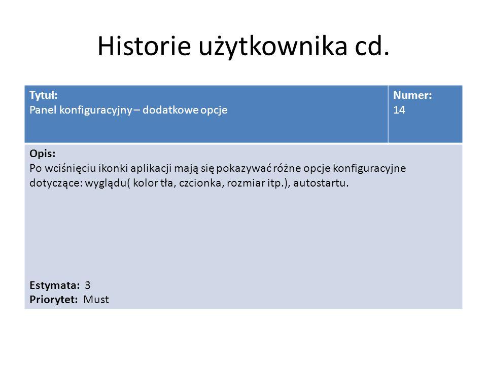 Historie użytkownika cd.