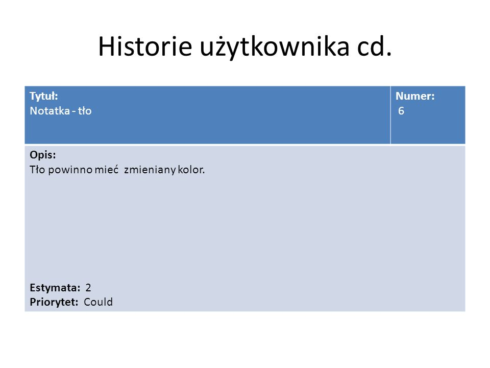 Historie użytkownika cd. Tytuł: Notatka - tło Numer: 6 Opis: Tło powinno mieć zmieniany kolor.