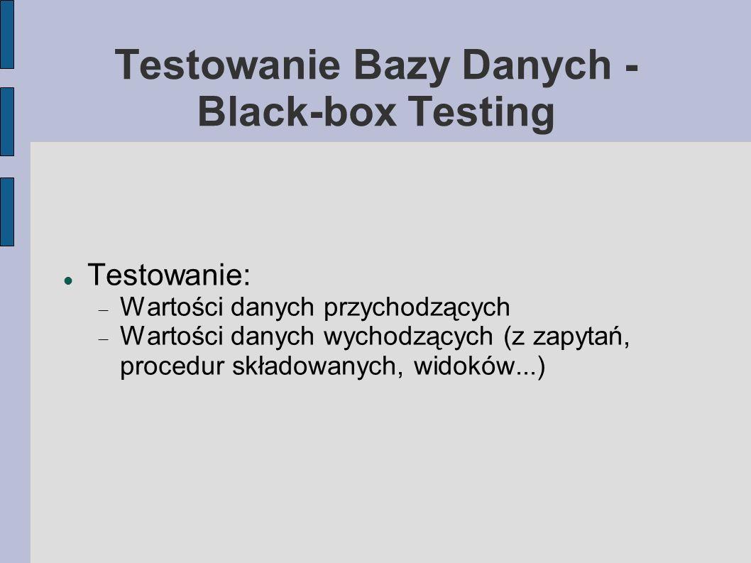 Testowanie Bazy Danych - Black-box Testing Testowanie: Wartości danych przychodzących Wartości danych wychodzących (z zapytań, procedur składowanych,
