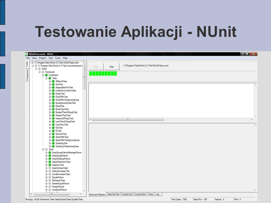 Testowanie Bazy Danych - TSQLUnit Narzędzie wywodzące się z rodziny xUnit Łatwy w użyciu Zapewnia utrzymanie dokładnie stanu bazy danych sprzed wywołania testów Testy Jednostkowe dla Procedur Funkcjonalność Setup/Teardown