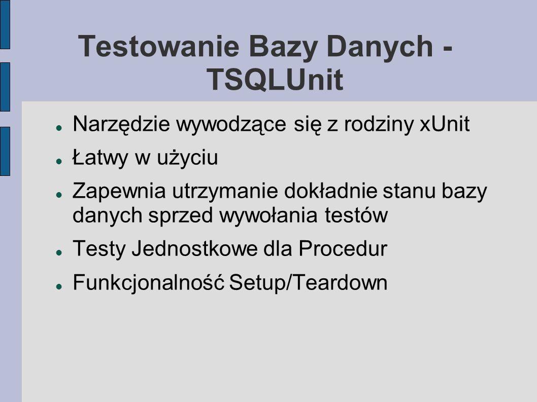 Testowanie Bazy Danych - TSQLUnit Narzędzie wywodzące się z rodziny xUnit Łatwy w użyciu Zapewnia utrzymanie dokładnie stanu bazy danych sprzed wywoła