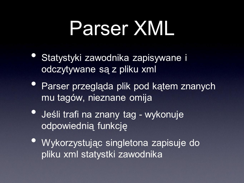 Parser XML Statystyki zawodnika zapisywane i odczytywane są z pliku xml Parser przegląda plik pod kątem znanych mu tagów, nieznane omija Jeśli trafi n