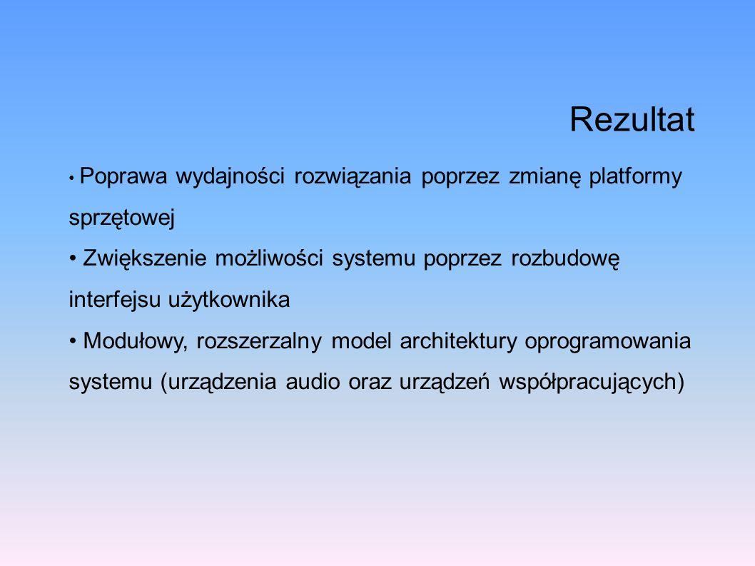 Rezultat Poprawa wydajności rozwiązania poprzez zmianę platformy sprzętowej Zwiększenie możliwości systemu poprzez rozbudowę interfejsu użytkownika Mo