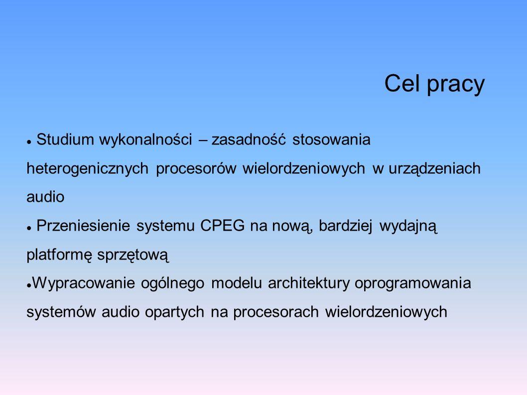 Cel pracy Studium wykonalności – zasadność stosowania heterogenicznych procesorów wielordzeniowych w urządzeniach audio Przeniesienie systemu CPEG na